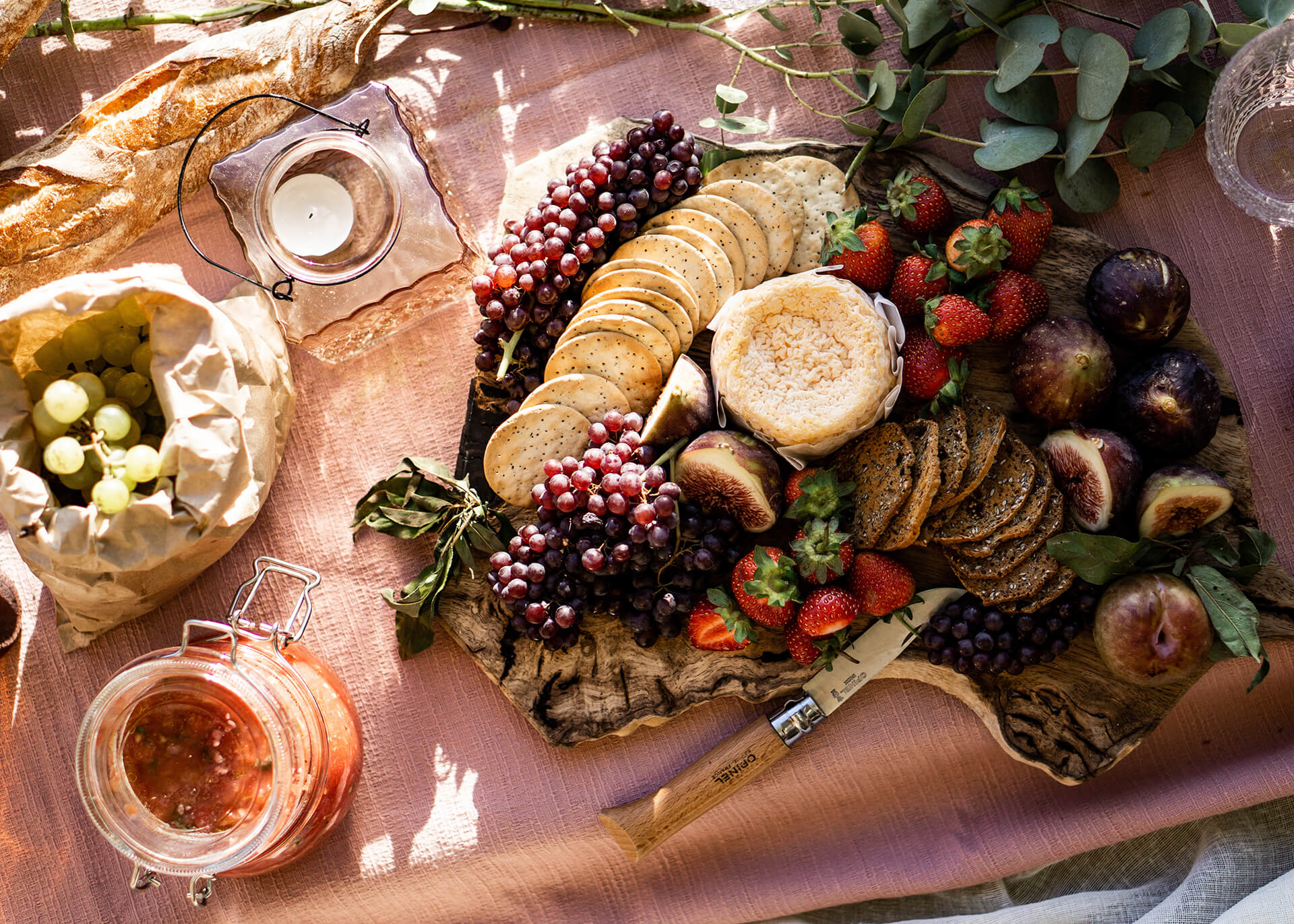romantic picnic with assortment of food