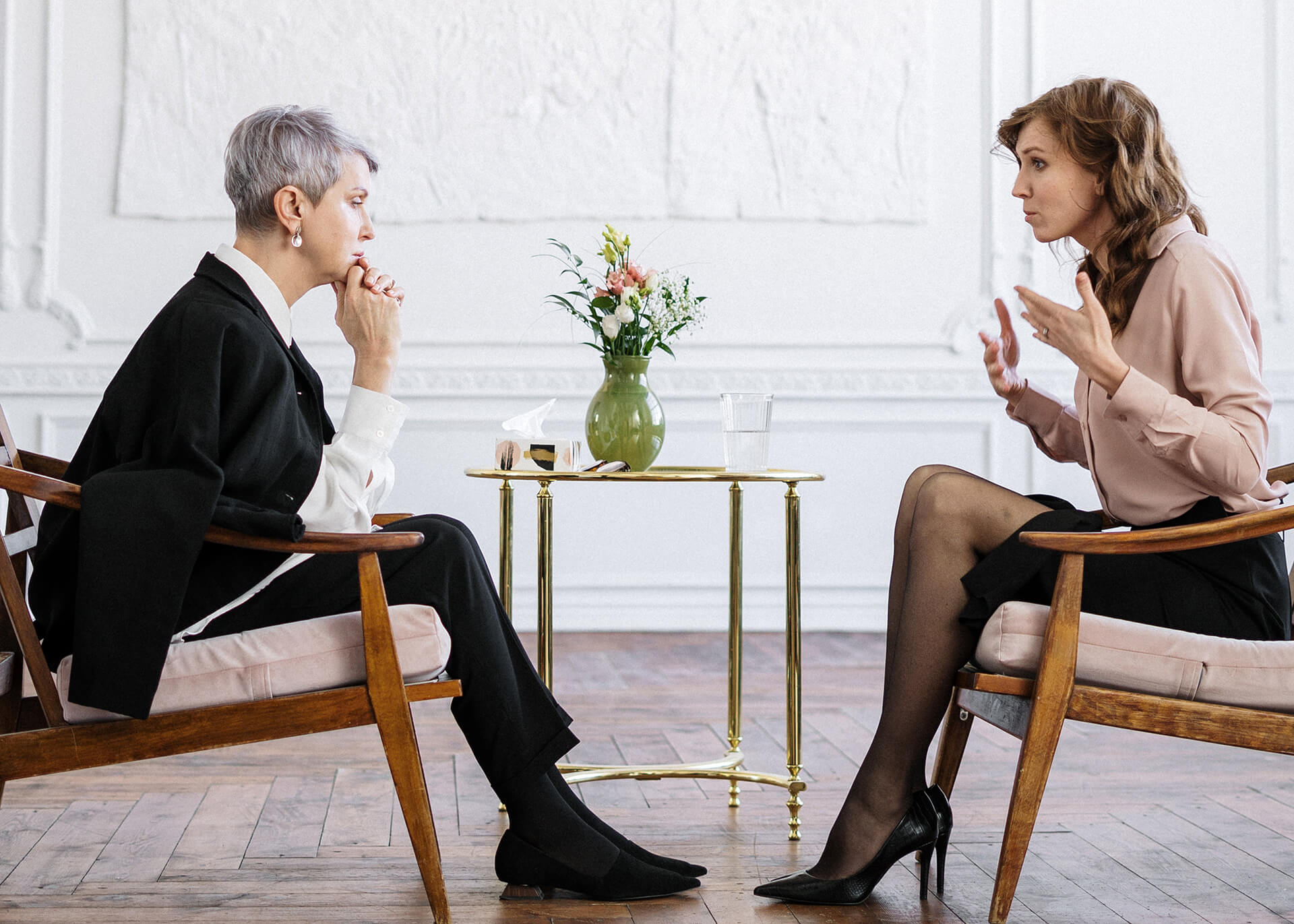 woman talking with a therapist