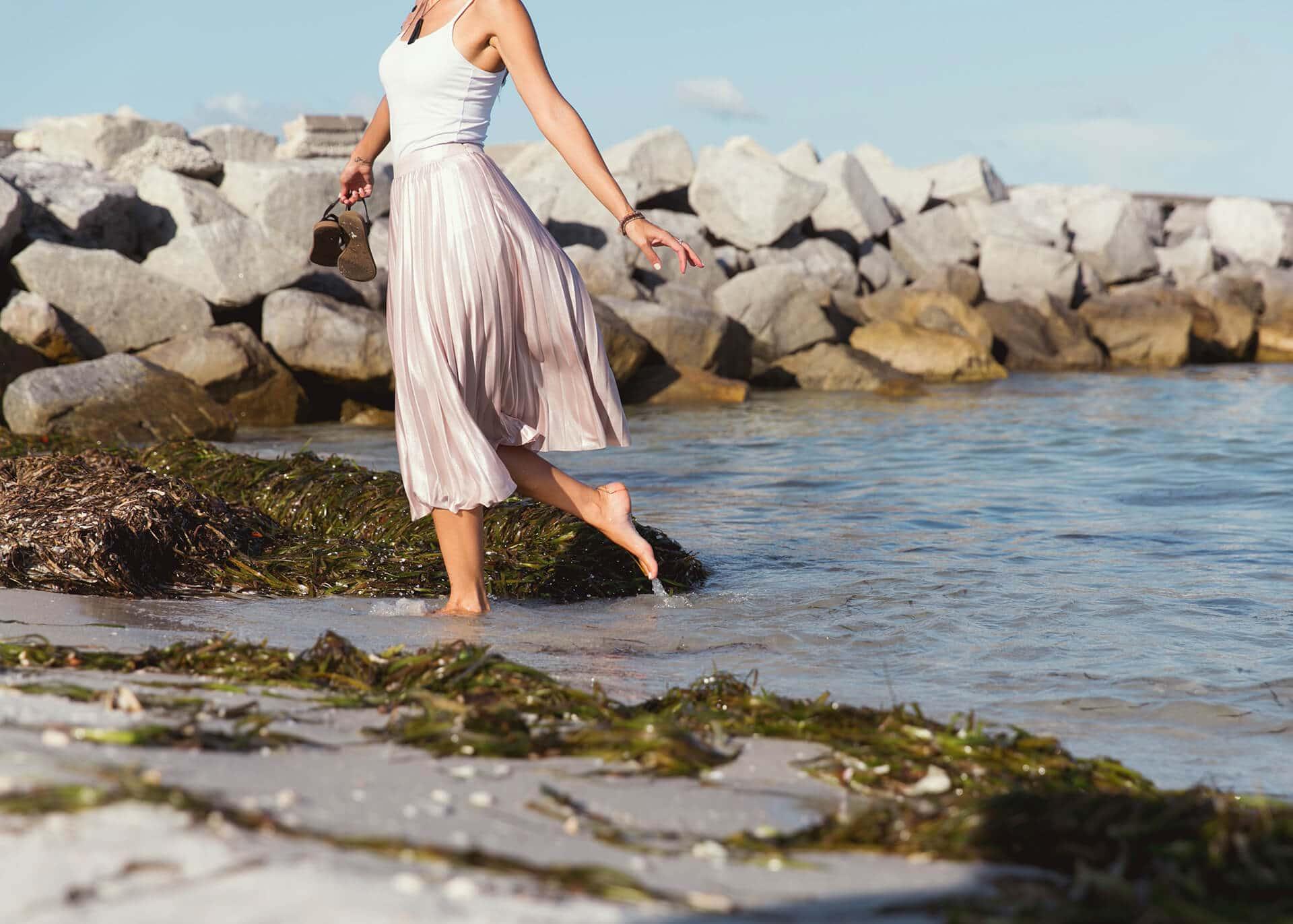 woman walking on the seaside