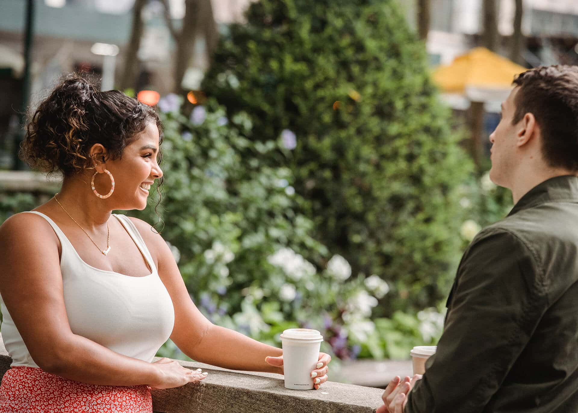 couple having coffee and talking