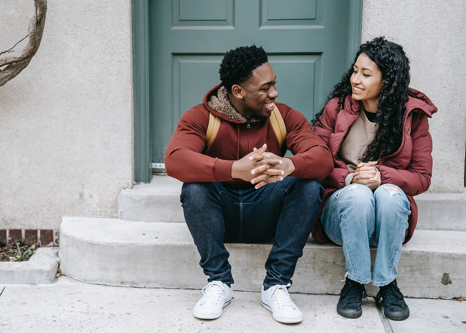 couple sitting outside talking