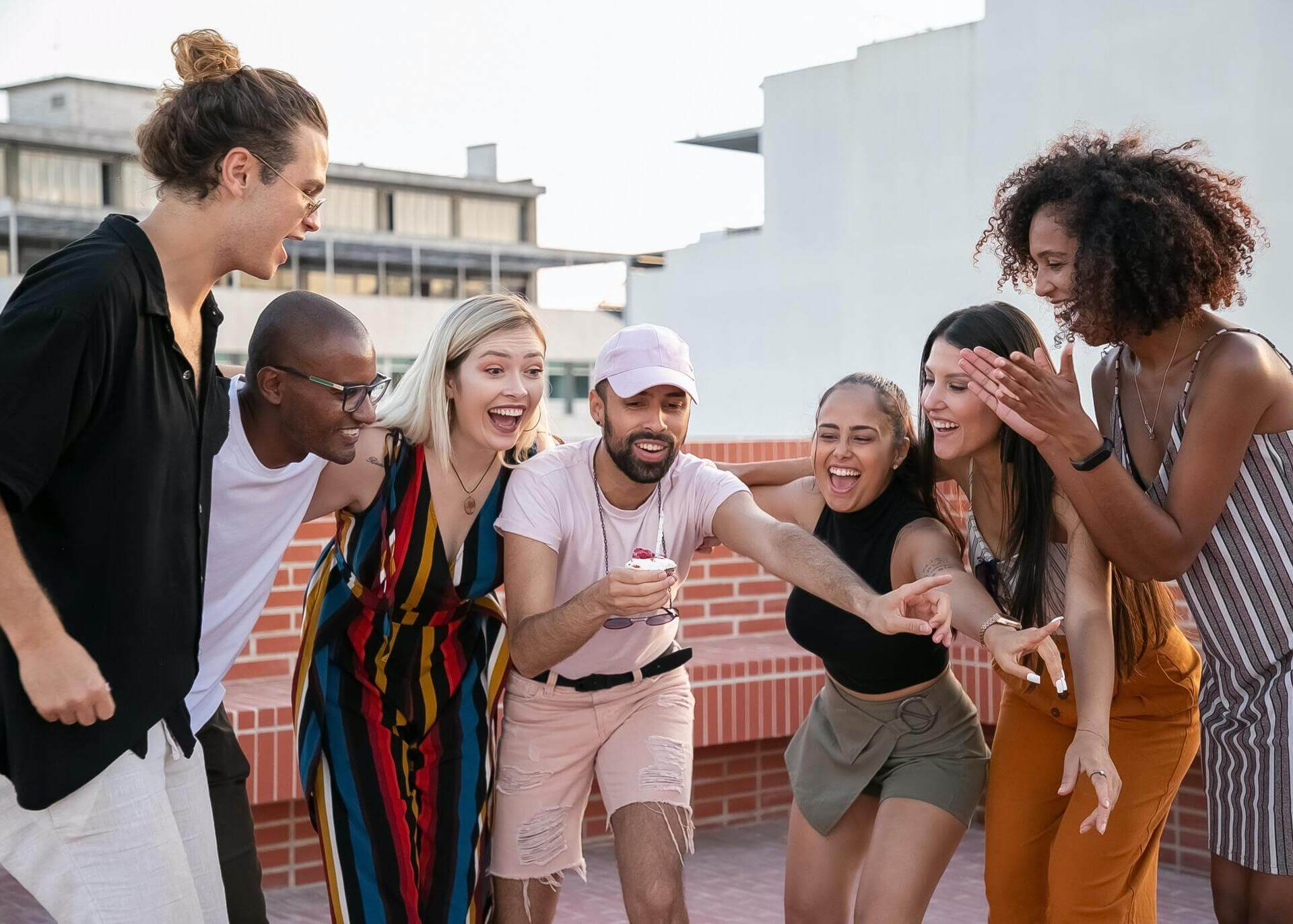 group of young happy people