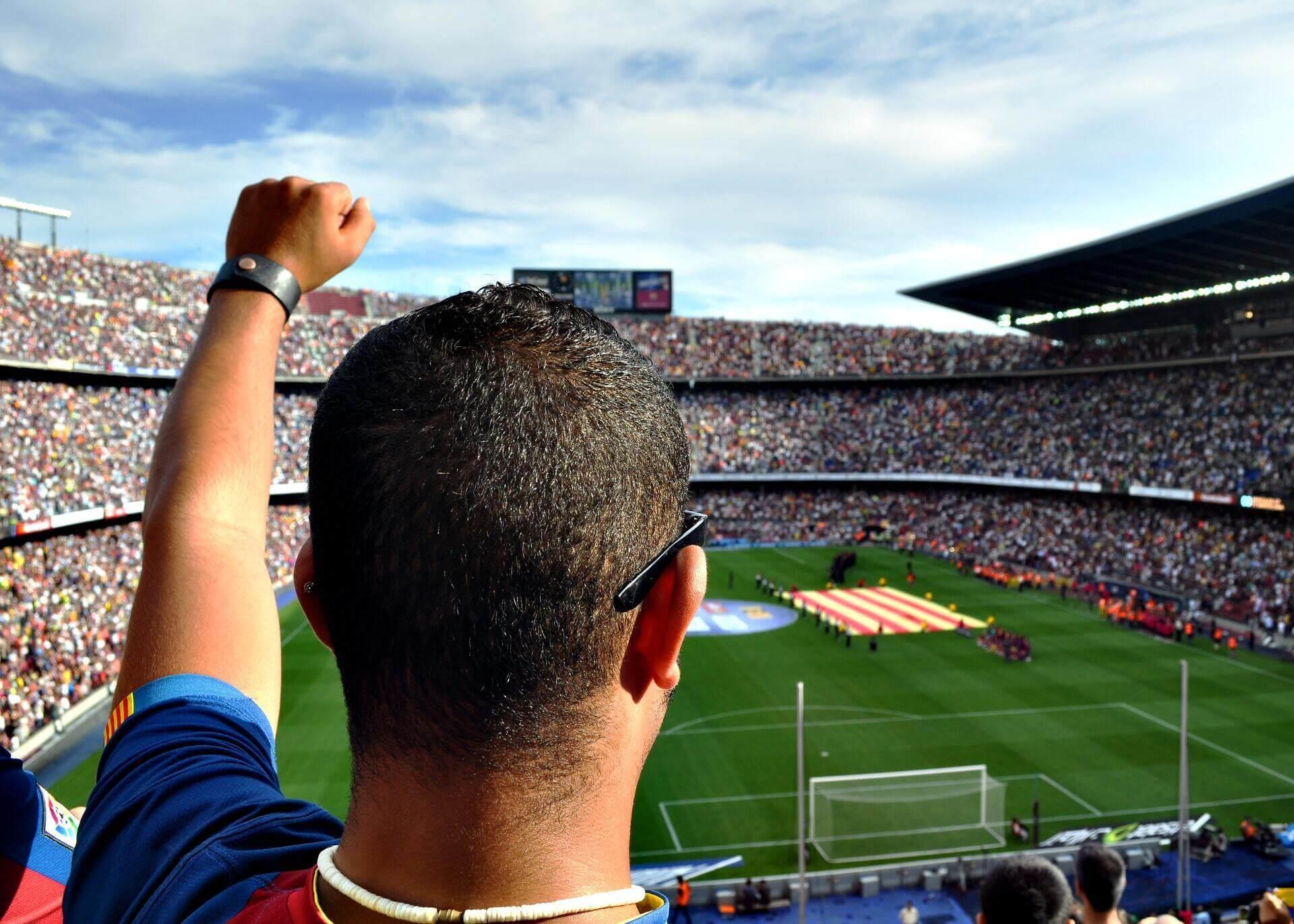 man watching sports game