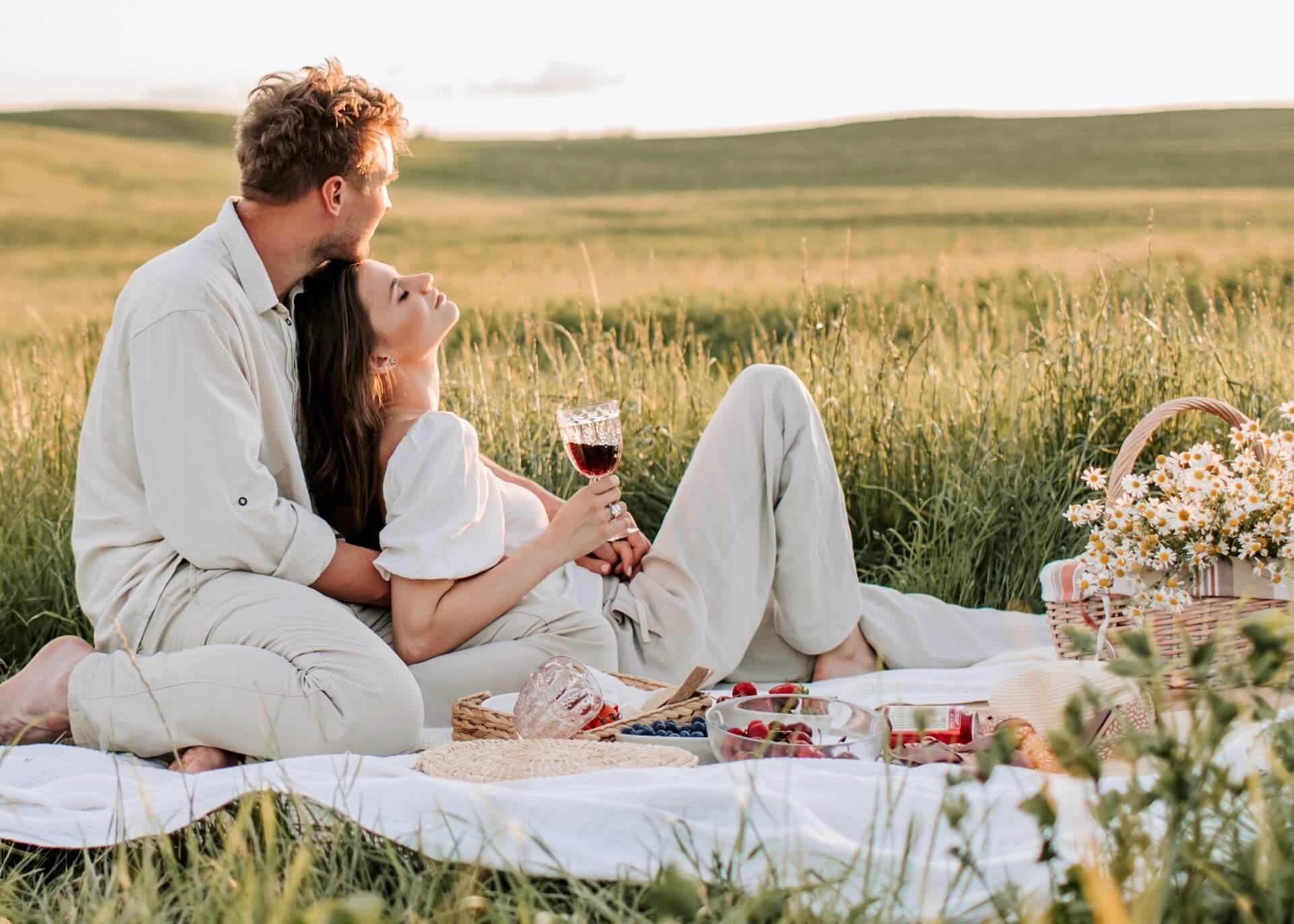 romantic couple on a picnic